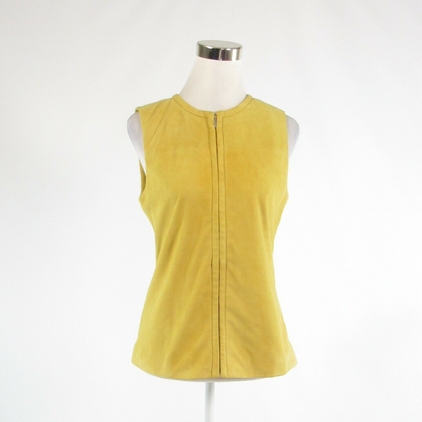 Mustard yellow suede TANNER Doncaster sleeveless vest 2 NWT