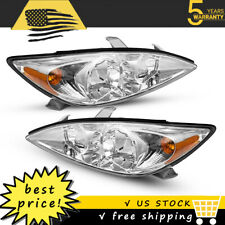For 2002 2004 Toyota Camry Crystal Chrome Headlights Headlamps Assembly Pair Set
