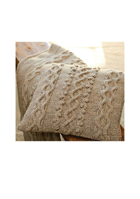 Aran Cushion Cover And Blanket Knitting Pattern 99p Ebay