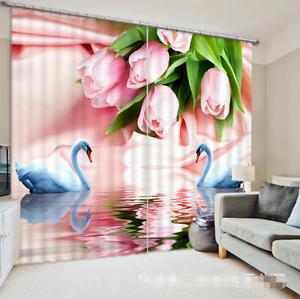 Flor De Cisne 3D 3 Cortinas de impresión de cortina de foto Blockout Tela Cortinas Ventana au