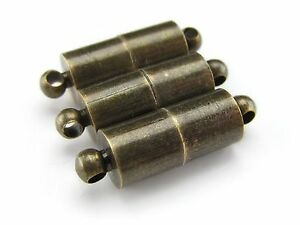 20 Magnetic Clasp Converters Necklace Deco Drum Style Antique Copper Color
