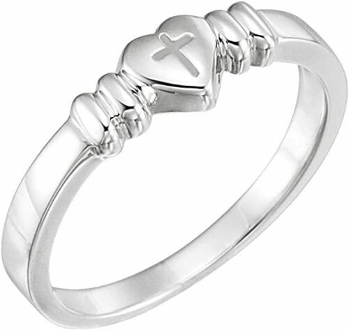 Details about  / 925 Sterling Silver Love Heart With Religious Faith Cross Ring