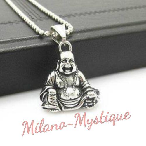 MILANO-Mystique Acero Inoxidable feliz riendo Lucky Buda Collar Colgante UK