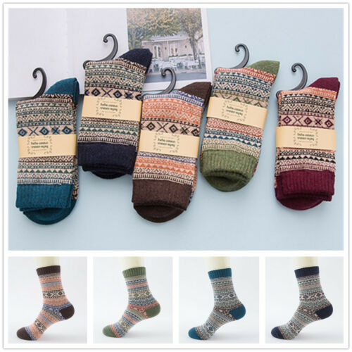 1 Pair Men Cozy Cotton Wool Socks Winter Warm Bohemian Printed Socks Free Size