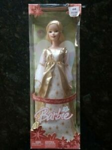 Holiday Angel Barbie Blonde White & Gold Gown With Golden Crown 2005 #16602 NRFB