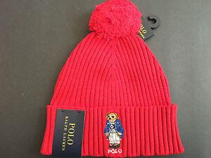 Polo Ralph Lauren Ski Bear Pom-Knit Cuffed Beanie Hat Rare NWT ... 47636e78173