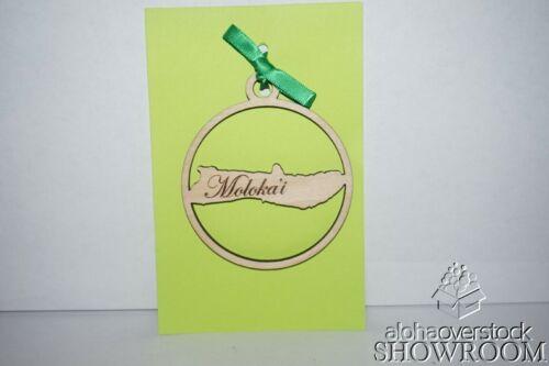 Laser Cut MOLOKAI Design Wooden Ornament Keepsake Gift Tag Made in Hawaii