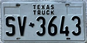 GENUINE-American-Texas-Truck-License-Licence-Number-Plate-SV-3643
