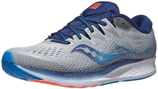 Saucony Men's Rise ISO 2 Running Shoe, Grey/Blue, 13 2E(W) US