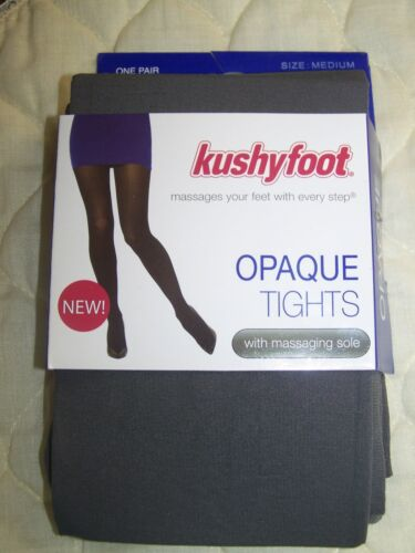 kushyfoot Opaque Tights Grey Size Medium with Messaging Sole NWT**