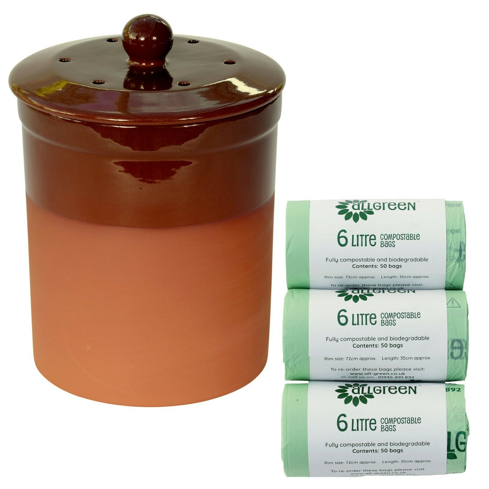 Chetnole Terracotta Compost Caddy - Chocolate braun & 150x Biobags - Kitchen Bin