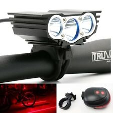 3x CREE XML T6 LED 6600LM Bicycle Bike Light Headlamp Lighting +Laser Tail Light