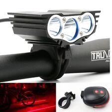 3x CREE XML T6 LED 6600LM Bicycle Bike Light Headlamp Lighting +Laser Tail Light