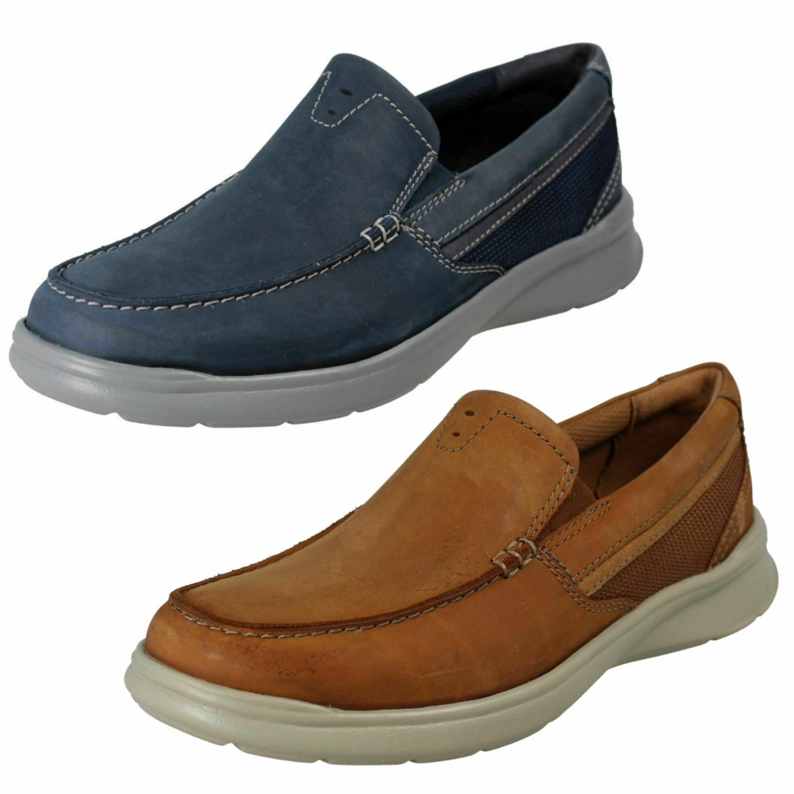 MENS CLARKS COTRELL EASY LEATHER EVERYDAY LIGHTWEIGHT SLIP ON CASUAL schuhe Größe
