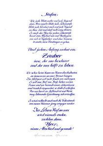 Kalligraphie-034-Stufen-034-von-Hermann-Hesse-A4-Druck-blau-auf-weiss