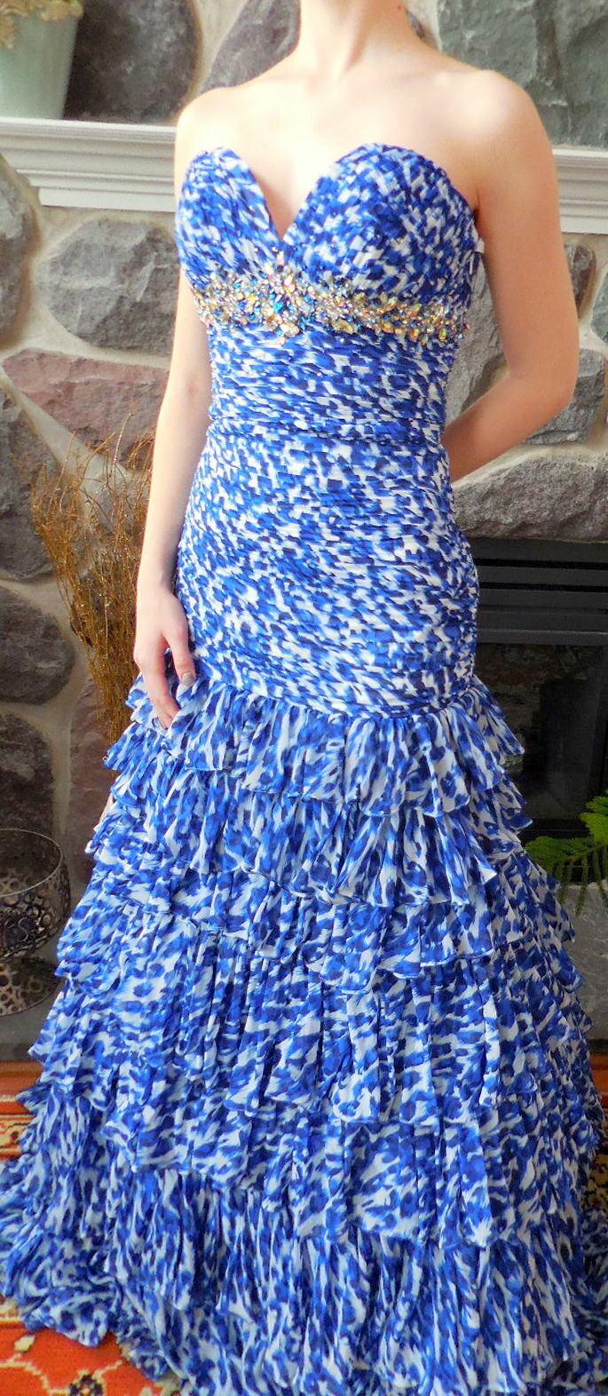 Sweetheart échelonné volants Prom Long sirène formel en mousseline de soie robe bleu 2 NEUF