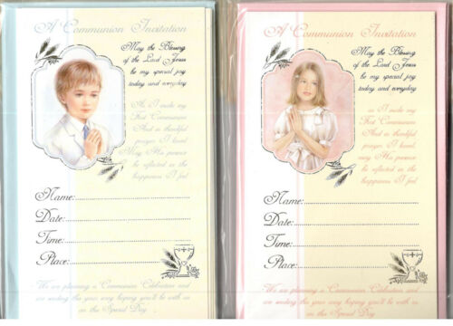 Communion Invitation Cards For Female Male Pack Of 12 Cards With Envelopes.