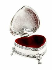 Juliana Heart Shaped Trinket Jewellery Box Antique Collectible Silver Look