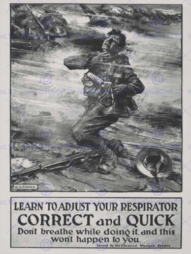 PROPAGANDA WAR WWI GAS CHEMICAL MASK ATTACK SOLDIER CHOKE BRITAIN POSTER BB7059B