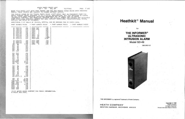 Assembly Manual Instructions For Heathkit Gd