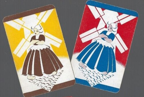 DUTCH  LADY BY THE  WINDMILL  DECO PAIR  263 Playing Swap Cards 2 VINT U.K