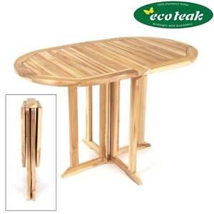 Beidseitig Klappbar Eco Teak Gartentisch Oval Massiv Holztisch