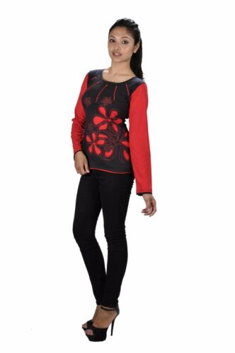 TATTOPANI WOMEN SUMMER LONG SLEEVED TOPS WITH FLOWER EMBROIDERY AND PATCH !