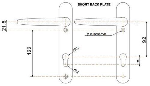 Trojan Sparte Court 92 à levier PVC Poignées de porte 122 mm Vis Centres Blanc