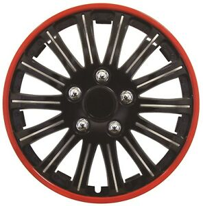 """Streetwize SWUX65 Lightning Wheel Trim Set 4 Pieces 14"""" Black Red Ring Covers"""