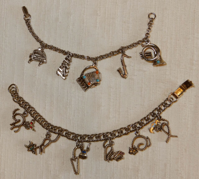 Vintage 60s Charm Bracelet Duo Musical Instruments Charms and Animal Charms