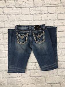 MISS-ME-Denim-Women-039-s-Rhinestone-Stretchable-Signature-Boot-Jeans-27x32