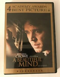 A Beautiful Mind DVD Widescreen Russell Crowe Best Picture 4 Academy Awards