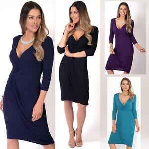 Womens-Ladies-Shift-Wrap-Dress-Midi-Knee-Long-Quarter-Sleeve-Sexy-Solid-Party