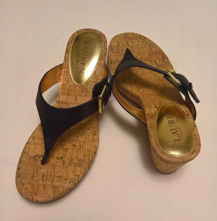 Lauren Ralph Lauren Oralee Plataforma Cuña Cuña Cuña Thong Sandalias De Cuero Negro Talla 6.5  salida de fábrica