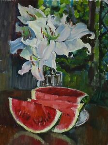 White-lilies-Still-life-watermelon-flower-by-AVDEEV-Original-oil-Painting-RUSSIA
