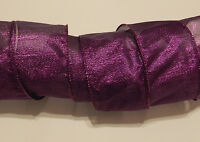 25 Ft Purple Metallic Wire Ribbon Bow Christmas Xmas Holiday Birthday 2 1/2 In