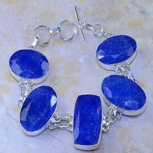 Handmade-Blue-Sapphire-Gemstone-925-Sterling-Silver-Bracelet-8-034-M52474