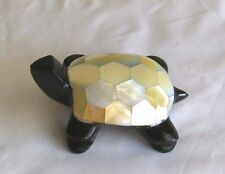 Carved Marble Stone/Mother of Pearl Turtle Figurine Statue Carving    L3