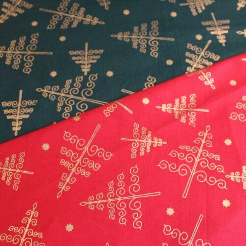 Tela Navidad 100/% algodón Oro Filigrana Abstracto Árboles De Navidad Rojo o Verde