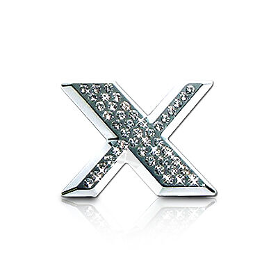 Crystallized Letter X Car Emblem with Chrome Finish and Real Swarovski Crystals