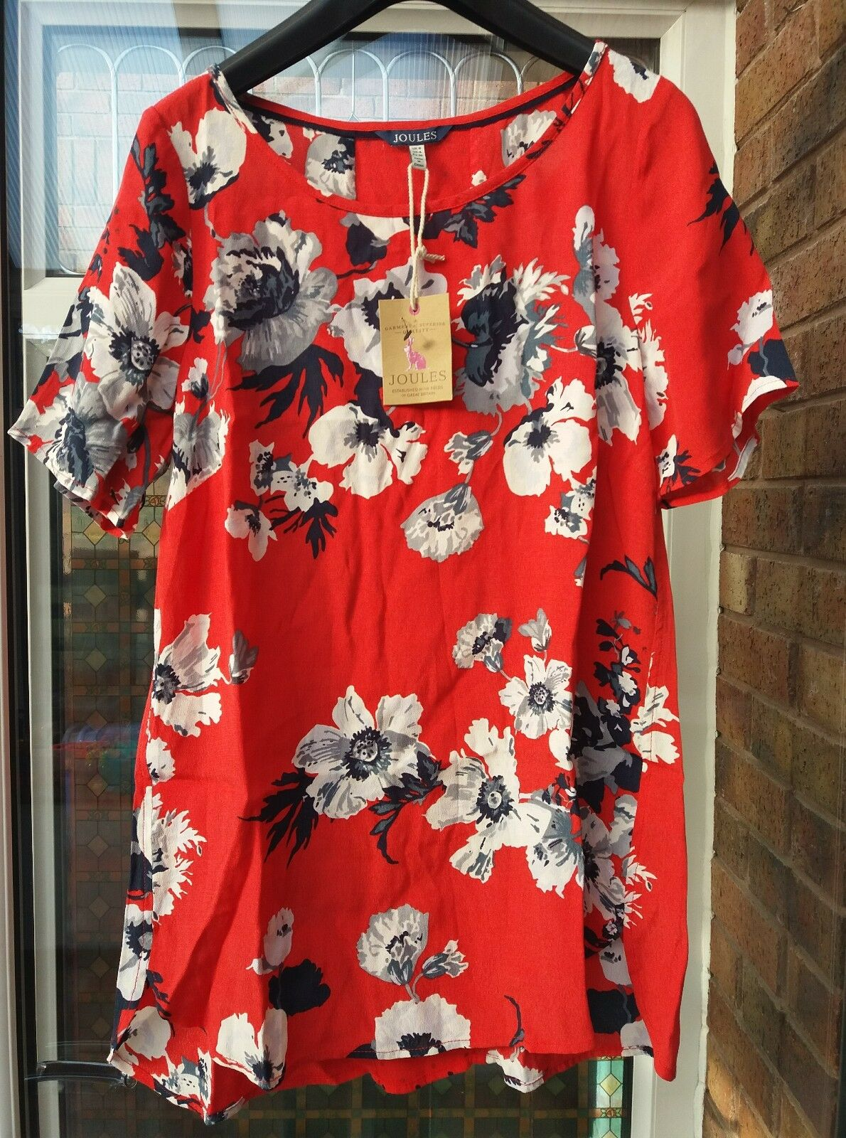 5dc673d5176 BNWT Joules Womens Hannah Red Posy Woven Shell Top UK8 rrp£50