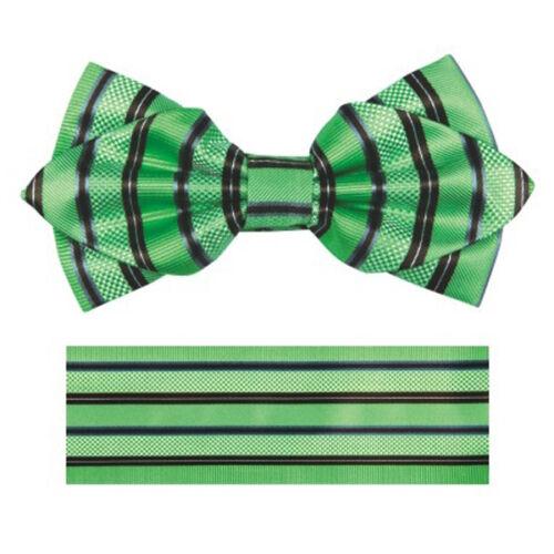 New in box formal Men/'s Diamond Shape Pre-tied Bow Tie /& Hankie green black
