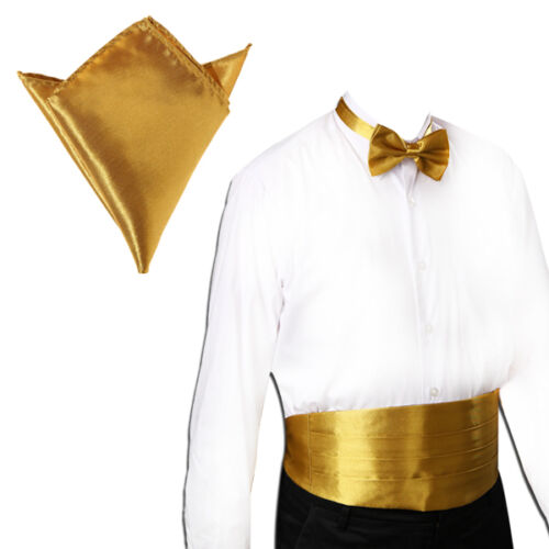 Italian Satin Cummerbund and Bow Tie and Hanky Set 30 Colors Event Gift