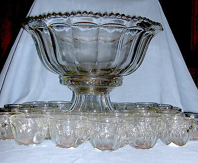 1940's TWO PIECE CLEAR PUNCH BOWL SET WITH 31 CUPS BY INDIANA GLASS