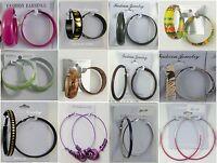 Fashion Jewelry Lots Wholesale Earring 12pairs Fashion Colorful Hoop Earrings B