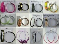Fashion Jewelry Lots Wholesale Earring 12pairs Fashion Colorful Hoop Earrings W