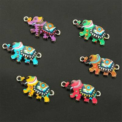 10Pc Enamel Colorful Elephant Connectors For Jewelry Making Bracelet Accessories