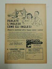 Pubblicità 1952 LINGUAPHONE LINGUE INSEGNA advertising werbung publicitè reklame