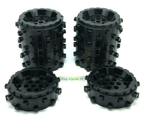 L40 LEGO Technic 10 x Black Plastic Wheels 64711 Small Cleats