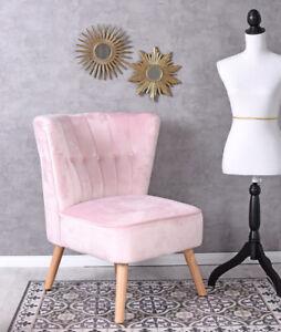 Vintage Sessel Rosa Samt Samtstuhl 50er Jahre Stuhl Cocktailsessel